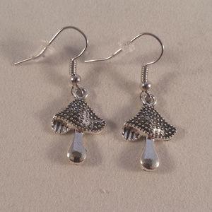 Silver Mushroom Earrings Hypoallergenic Hooks